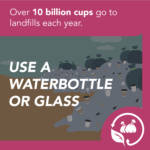 Purple social media graphic illustrating waste management
